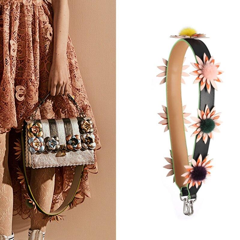 AUTEUIL PARIS Shoulder Strap Pom Pom Charm Women Bag Accessories Split Leather Bag Strap Floral Straps With Mink Hair Strap You