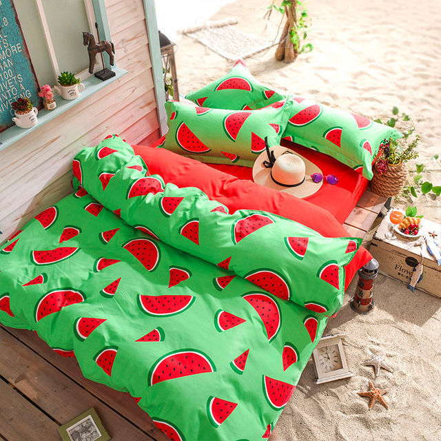 2018 New Fashion Bedding Sets Watermelon Banana Pear Fruit Bed Sheet Quilt Duvet Cover Pillowcase Soft Comfortable 3/4PCS