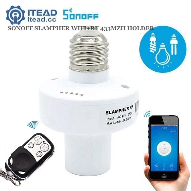 Sonoff Slampher E27 ライトホルダーユニバーサル Wifi Slampher RF 433 315mhz のワイヤレスリモートコントロール電球ホルダー用に携帯