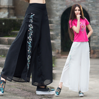 Femme Pantalones Mujer Trousers Women Autumn Spring Bohemian Hippie Ethnic Loose White Black Embroidery Wide Leg