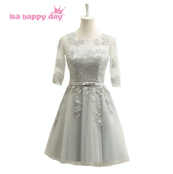 cheap formal gray tulle dresses adult short silver grey knee length dress for bridesmaids teens with sleeves under 50 B3721 day dress