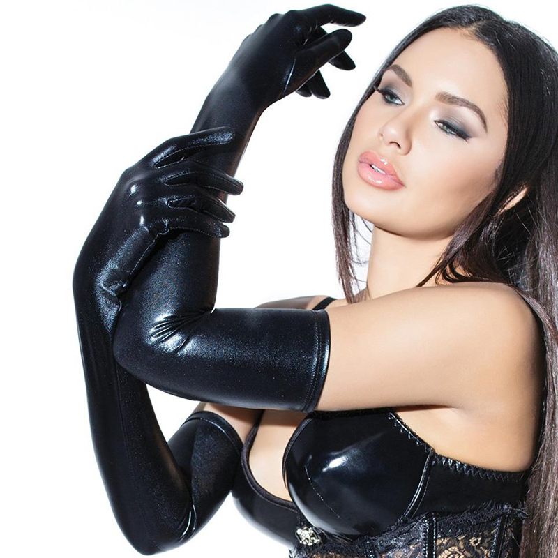 Fashion Night Club Party Pole Dancing PU Leather Long Gloves Women Gothic Punk Full Finger Latex Gloves Cosplay Costumes