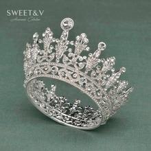 Здесь можно купить  SWEETV Eye-catching Full Round Queen Crown Tiara Clear Crystal Princess Headpieces Hair Jewelry for Wedding Bride Pageant Prom