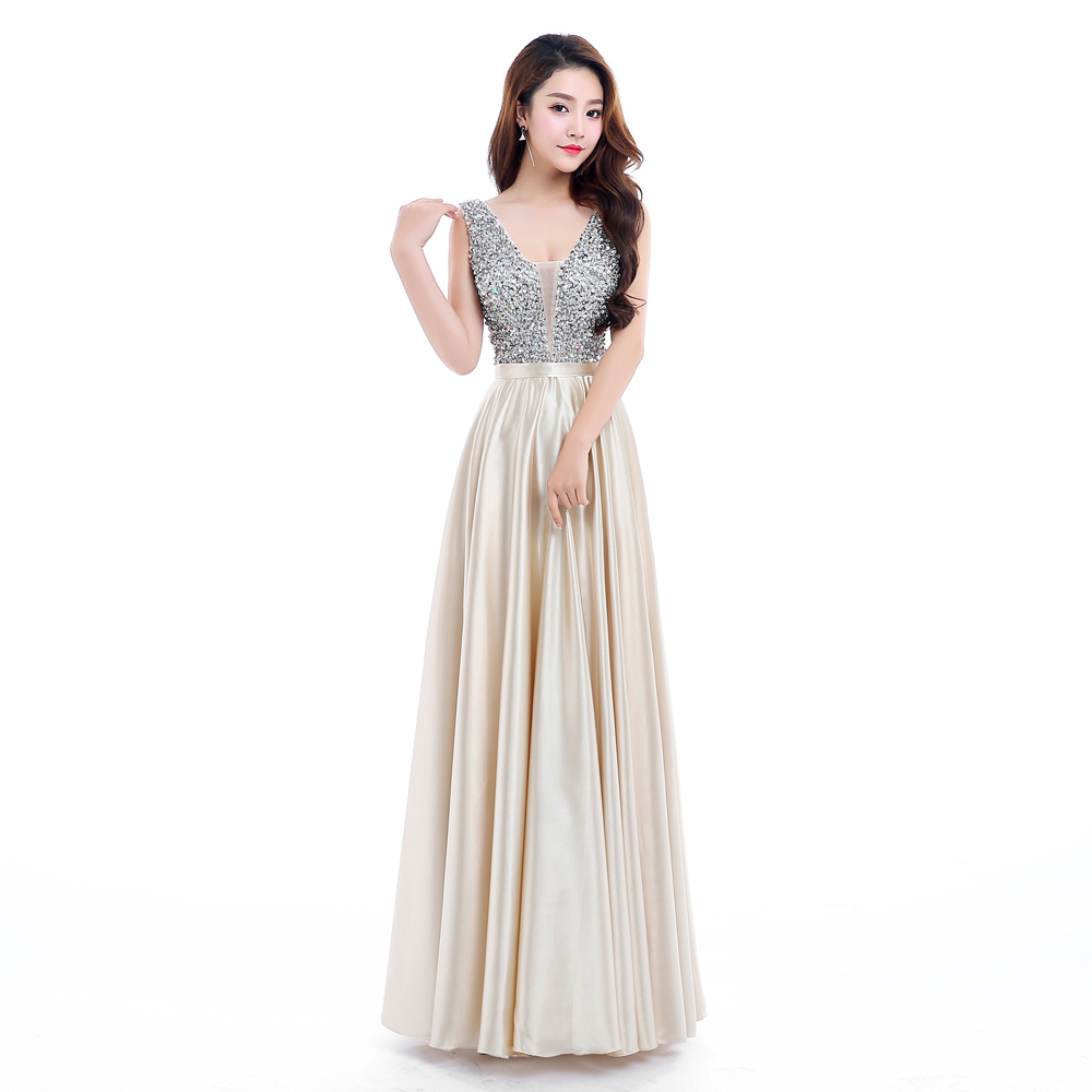 Champagne   Bridesmaid     Dresses   2019 Party Gowns Long Formal Beaded shiny   dress   robe de soiree Sexy Backless custom colors
