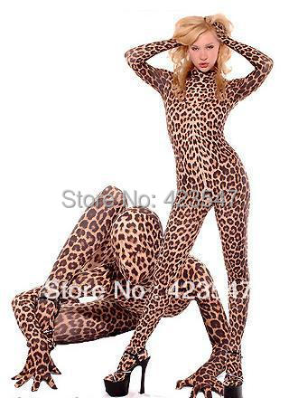 leopard lycra Zentai Fullbody Catsuit sexy Halloween Party Cosplay suit