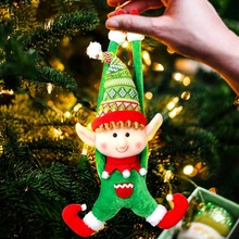 OurWarm Elf Christmas Tree Ornaments Santa Claus Plush Hanging Cotton Sticker Party Favor Decoration New Year
