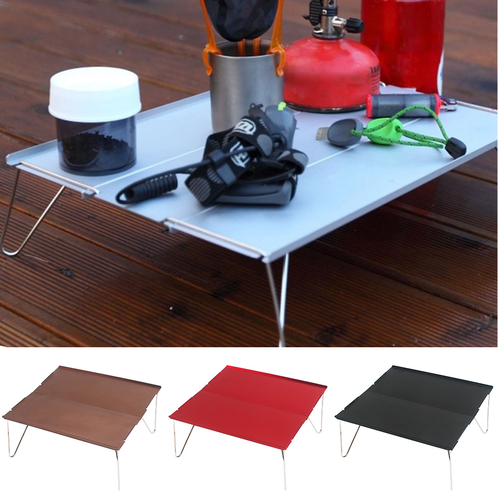 Image 2 - Hiking Durable Lightweight Outdoor Single Camping Folding Table Desk Barbecue Picnic Furniture Aluminum Plate Mini Portable-in Outdoor Tables from Furniture