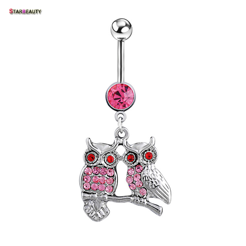 Owls Piercings Bird Navel Belly Rings Sexy Bikini Tubuh Perhiasan Wanita Gadis Bell Piercing Ombligo Anting Pantai Aksesori
