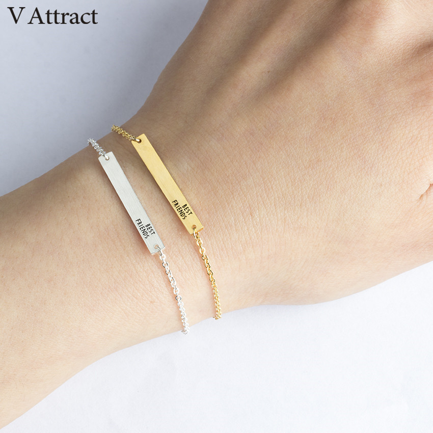 V Attract Friendship Gift Stainless Steel Jewelry Geometric Long Bar Bracelets & Bangles Rose Gold Best Friend Letter Pulseras