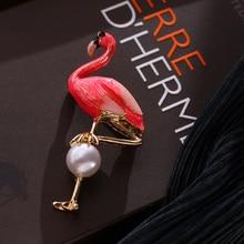 2019 Real New Arrival Tin Alloy Jewellery Dubai Jewelry Sets Keqiu Sweet Enamel Flamingo Pearl Coat Sweater Brooch Korean Women