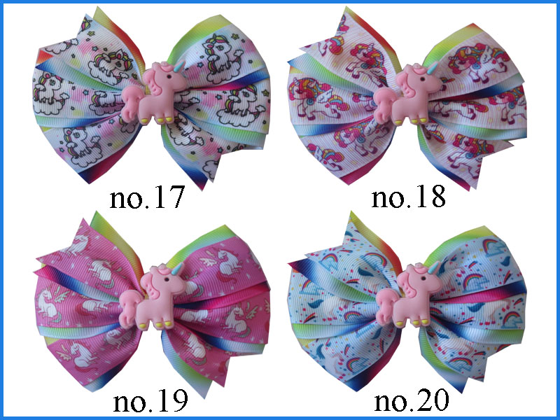 """20 BLESSING Girl 4.5/"""" Two Tone Wendy Hair Bow Clip Rainbow Unicorn Pony Hairbow"""