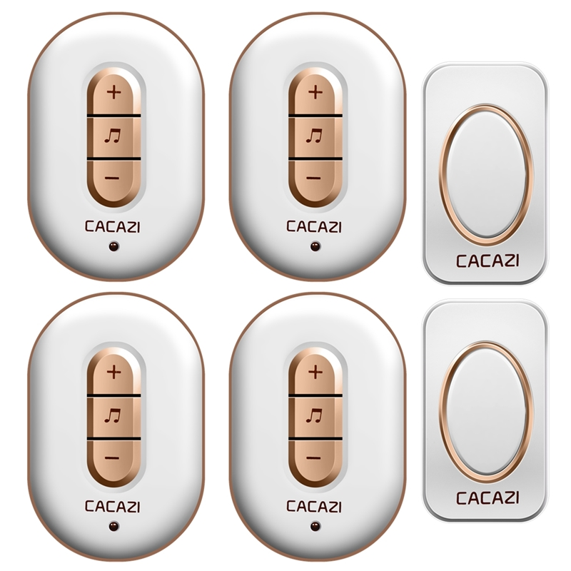 CACAZI Wireless doorbell AC 110-220V 2 waterproof buttons+4 plug-in receivers 280M remote door bell 48 rings 6 volume door chime social housing in glasgow volume 2