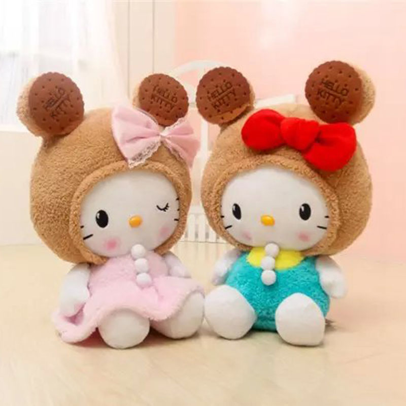 50cm Super Cute Hello Kitty Cookie KT Plush Cushion Staffed Animal Toy Kids Doll Pink Blue Best Gift for Girls Home Decoraiton
