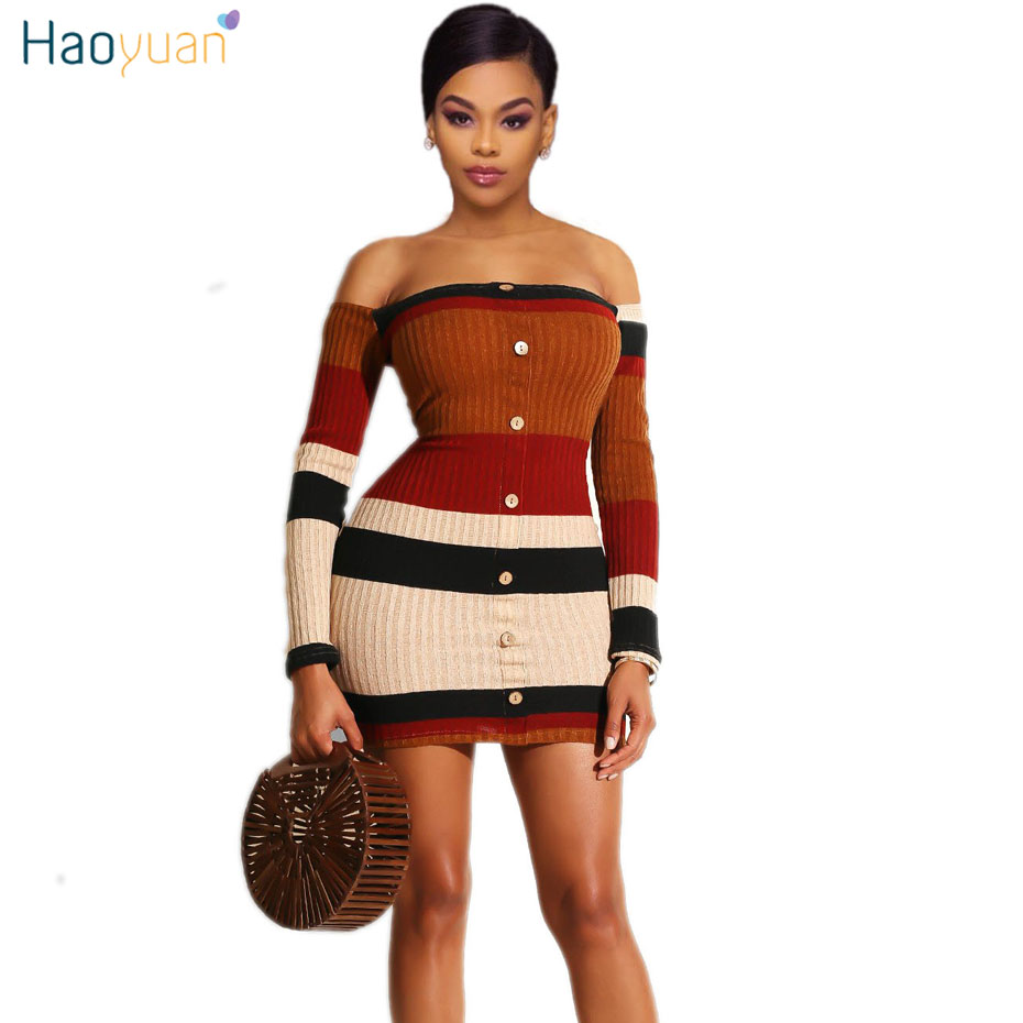 a73ef74717d HAOYUAN полосатый трикотажный свитер с открытыми плечами Мини платье для  женщин осень 2018 зима пикантные платья