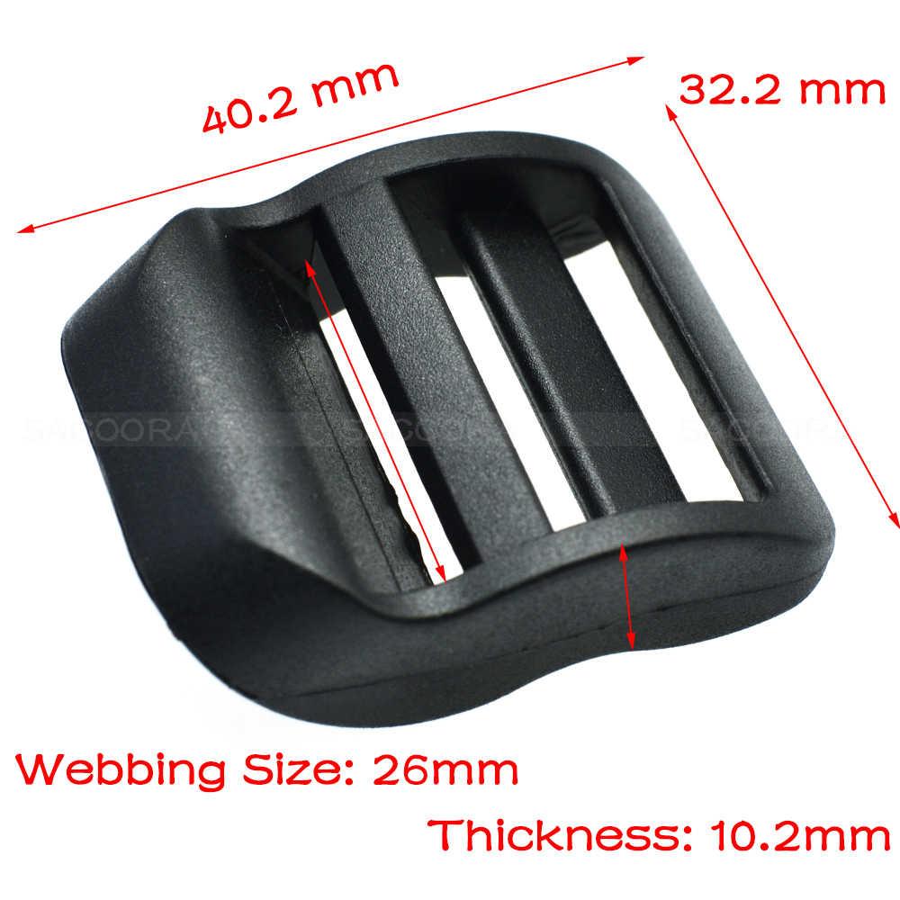 """1 unidades/pacote pacote 1 """"plástico escada deslizante fivela ajustável preto para alças mochila"""