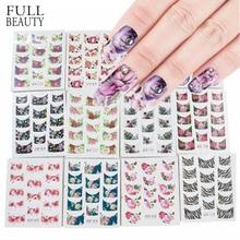 44pcs Nail Art Stickers Sets Beauty Charm DIY Franse Tips Bloem Ontwerp Water Transfer Decals Slider voor Manicure Polish NJ003