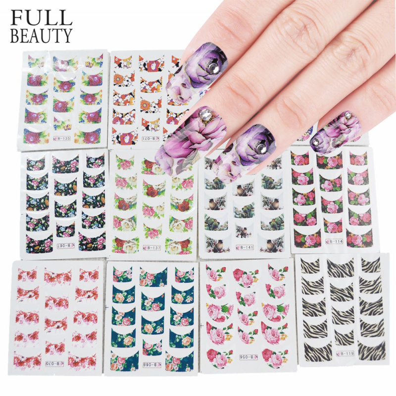 44pcs Nail Art Stickers Sets Beauty Charm DIY French Tips Flower Design Water Transfer Decals Slider For Manicure Polish NJ003