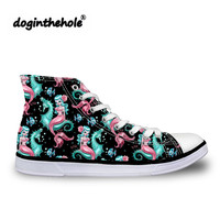 doginthehole Mysterious Mermaid Printing Canvas Shoes Women High top Vulcanized Shoes for Females Fashion Sneakers Autumn Flats