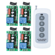 RF AC 220V 1000W One 4-buttons  Transmitter 4X 1 Channel Relays Smart Wireless Remote Control Light Switch