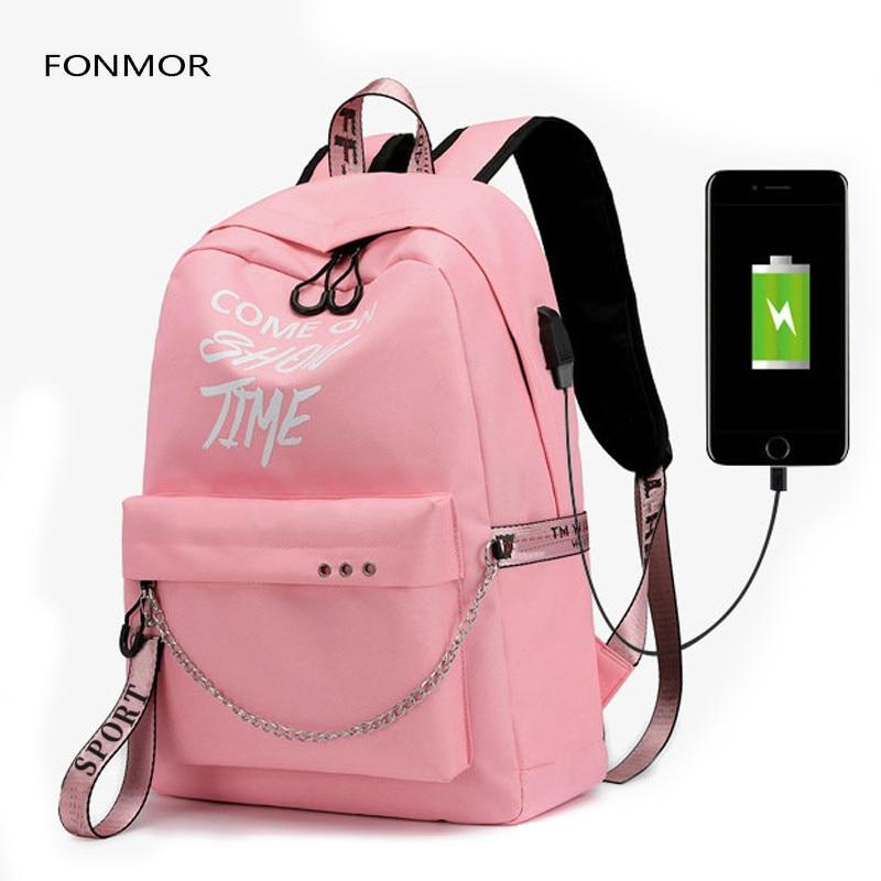 2019 New Luminous USB Charge Women Backpack Fashion Letters Print School Bag Teenager Girls Ribbons Backpack Mochila Sac A Dos