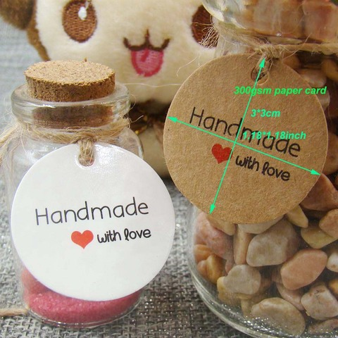 1.18inch 100pcs kraft print paper hand made tag with love for DIY Gift box tag candy cupcake handmade favors name brand tag Lahore