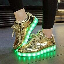 2017 НОВЫХ детей Водить кроссовки USB зарядки детей LED световой Золото shoes мальчики девочки красочные мигалками кроссовки