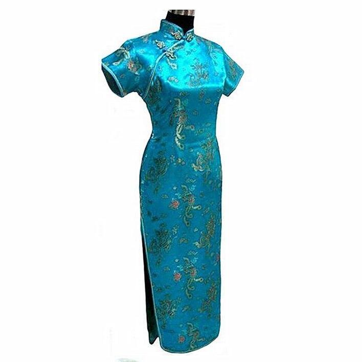 Crna Ženska Satin Long Cheongsam Qipao Tradicionalna kineska haljina - Nacionalna odjeća - Foto 6