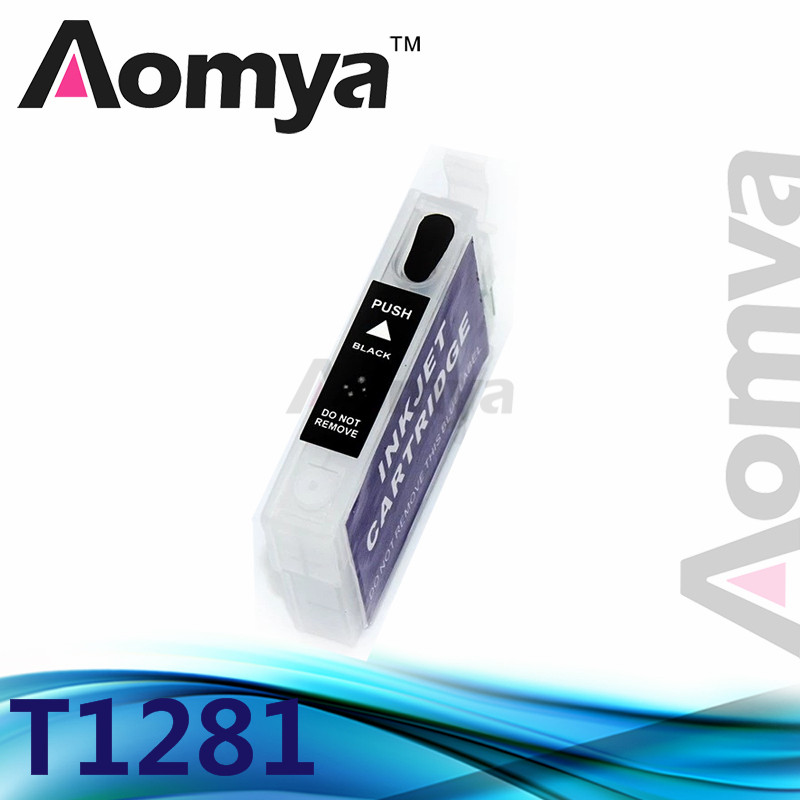 Aomya 1pcs Black T1281 Refillable Ink Cartridge Compatible For <font><b>Epson</b></font> S22/SX125/SX40W/SX425/<font><b>BX305</b></font> Printer With Chip Without Ink image