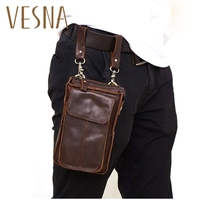 Hot New Crazy Horse Leather Retro Wear Belt Waist Bag Mobile Phone Small Pockets Fashion Casual Outdoor Sports Leather Men Bag