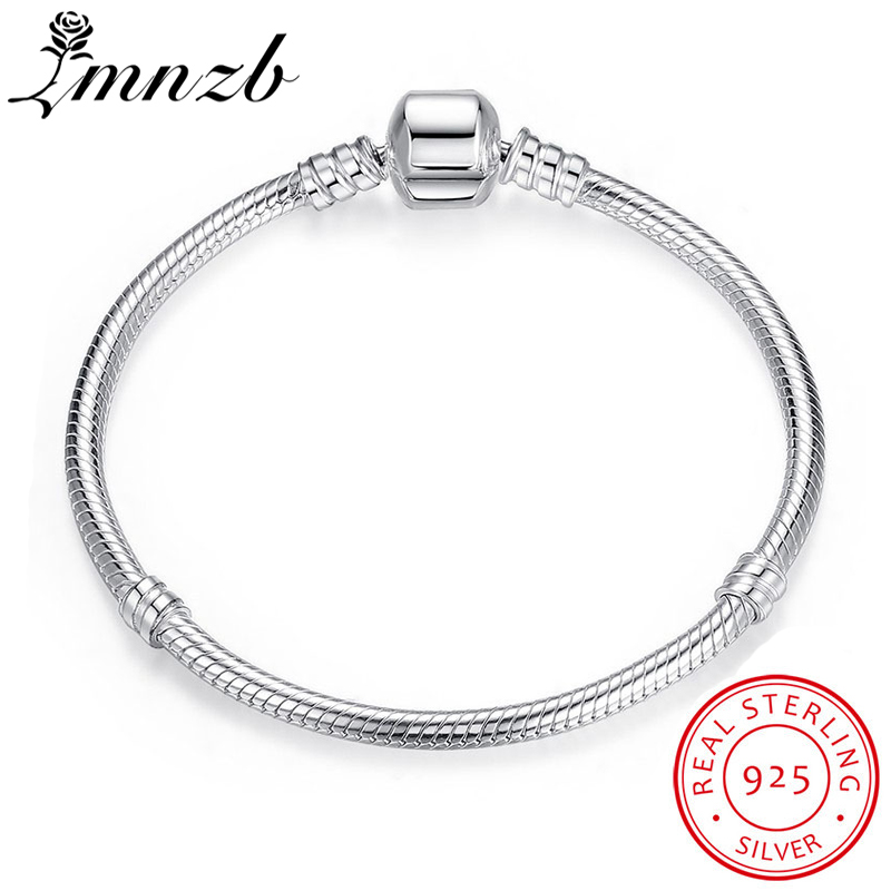 LMNZB 95% OFF GRANDE VENTE Authentique 100% 925 Sterling Argent Serpent Chaîne De Bracelet et Bracelet De Luxe Bijoux 17-21 cm Femmes Cadeau HB005