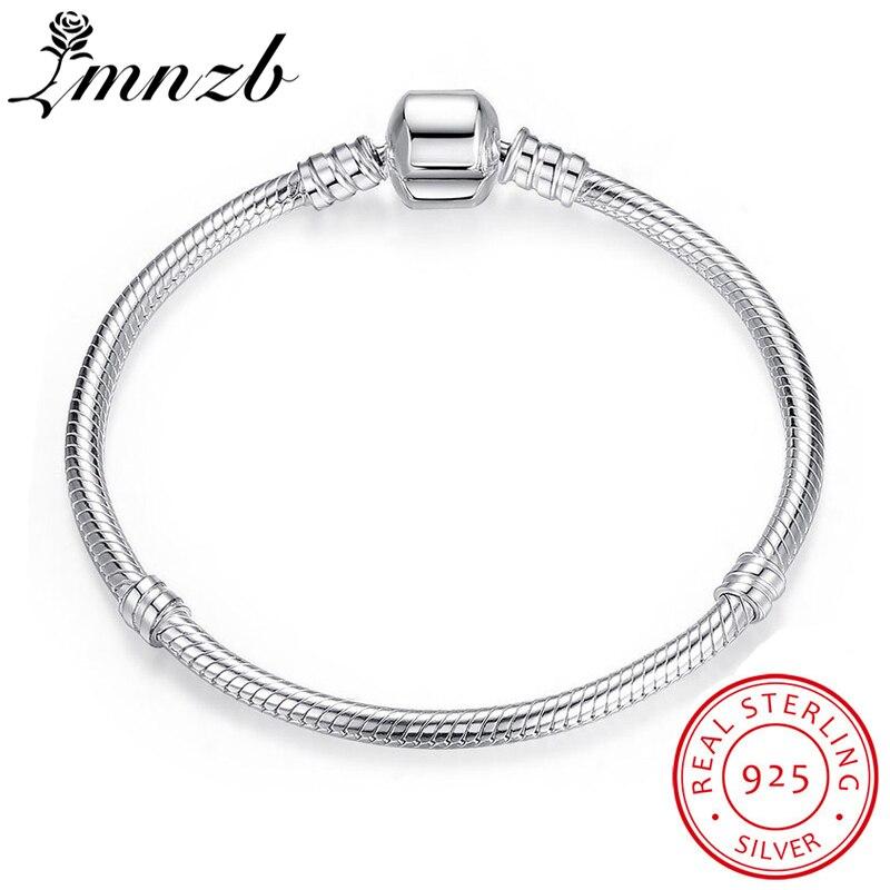 LMNZB 95% de DESCONTO GRANDE VENDA Authentic 100% 925 Sterling Silver Cobra Cadeia Bangle & Bracelet Jóias de Luxo 16-23CM HB005 Dom Mulheres