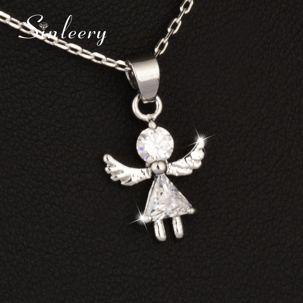 SINLEERY Romantic Cubic Zircon Angel Wings Girl Pendant Necklace Rose Gold Color Fashion Chain For Women Party Jewelry Xl679