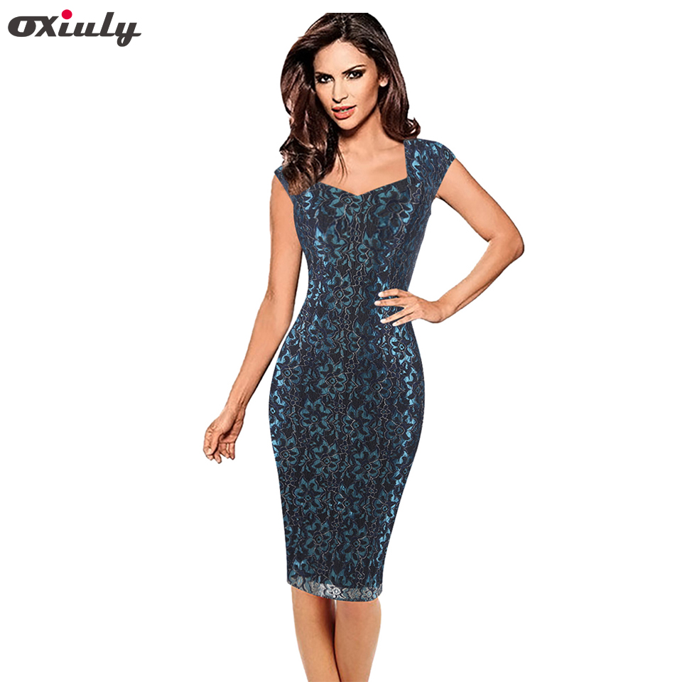 Oxiuly Women Elegant Sexy Lace Floral Lace Slim Tunic Work Evening Party Club Special Occasion Fitted Bodycon Pencil Dress