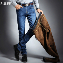 SULEE Brand Mens Winter Stretch Thicken Jeans Warm Fleece High Quality Denim Biker Jean Pants Trousers Size 28-40 Hot Sale(China)