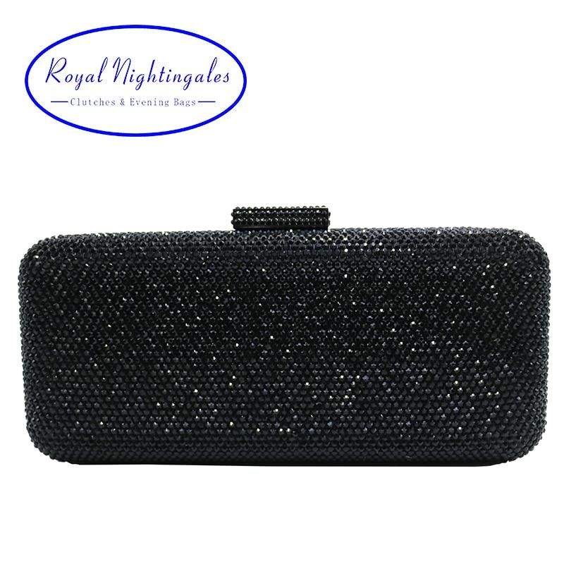 Luxury Crystal Rhinestone Evening Clutch Bags for Bridal Prom Evening Party Crystal Box Clutch Black Evening