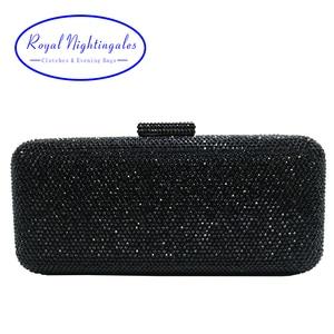 Image 1 - Luxury Crystal Rhinestone Evening Clutch Bags for Bridal Prom Evening Party Crystal Box Clutch Black Evening Bag