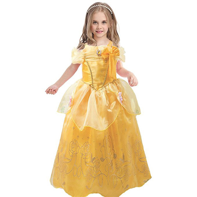0eb63c4e6947 Halloween Kids Princess Costumes Girls Long Belle Dresses Party Clothing  beauty and the beast dress children Sleeveless Clothes
