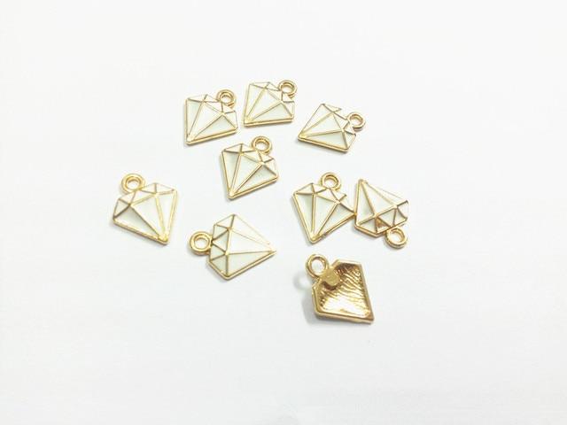 Wholesale 15mm 12mm 30pcs lot Gold All White Enamel Charms Pendants ... b5519de5f456