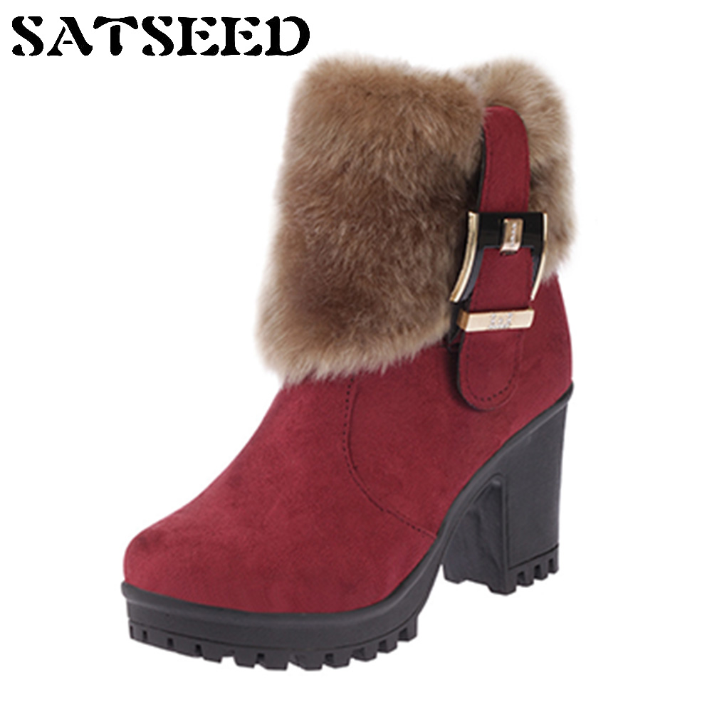 2018 New Snow BootsFur Ankle Boots Winter Waterproof Boots For Women Belt Buckle Anti-slip Martin Boots Zipper Shoes Thick Sole цены онлайн