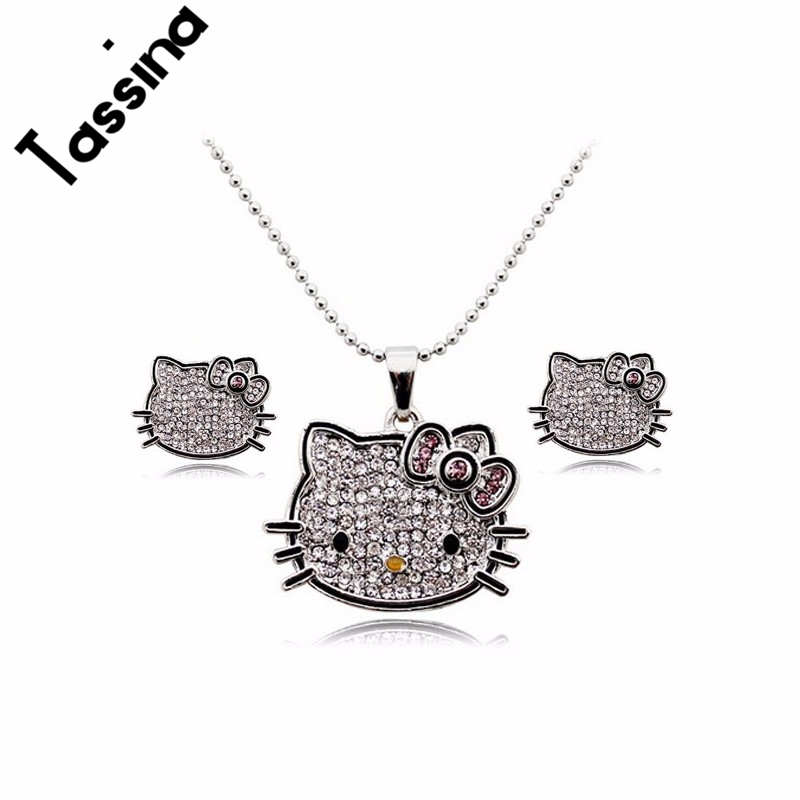 Tassina Cute Silver Color Anime Crystal Cute Cat Hello Kitty KT Jewelry Sets Children Jewelry MLY5321