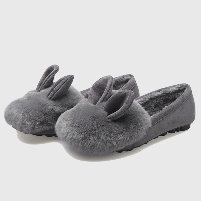 Winter Women's Fur Warm Flats Shoes Genuine Leather Rabbit hair Cute Ear Girls Shoes Student Slip On Solid Black Gray Shoes 11 black and white senior rabbit fur hat