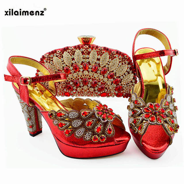 2019 Sweet Purple Italian women Shoes and Bags To Match Set High Quality Wedding Party Shoes and Bag Sets for Wedding Sandals