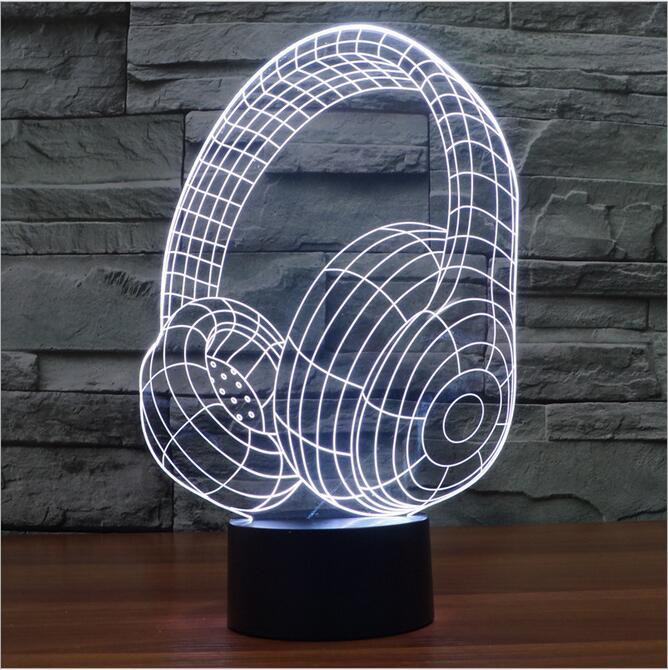 Magic 3D Bulb Night Light Lampada LED Gradient Headphone Earphone Shape Table Desk Lamp Home Decor Nightlight for Children Gift