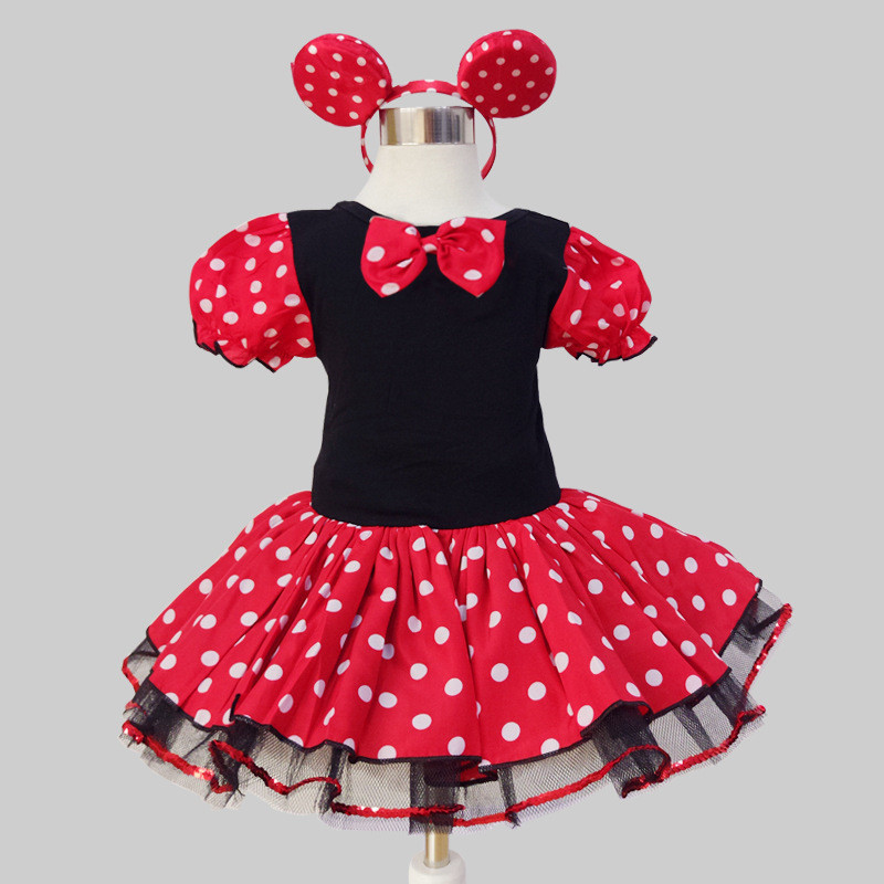Brandwen 2017 Newest Kids Girl Minnie Mouse Party Dresses Fancy Costume Cosplay Girls Dress+Headband Infant Baby Clothes Red Set newborn baby photography props infant knit crochet costume peacock photo prop costume headband hat clothes set baby shower gift