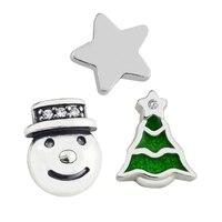 Pandulaso Winter Star Snowman Green Christmas Tree Petites For DIY Floating Glass Locket Pendants Necklaces Women