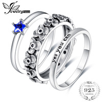 JewelryPalace Star Shape Created Blue Spinel Cluster Flower Engraved Yes You Can Stackable Ring Sets 925 Sterling Silver