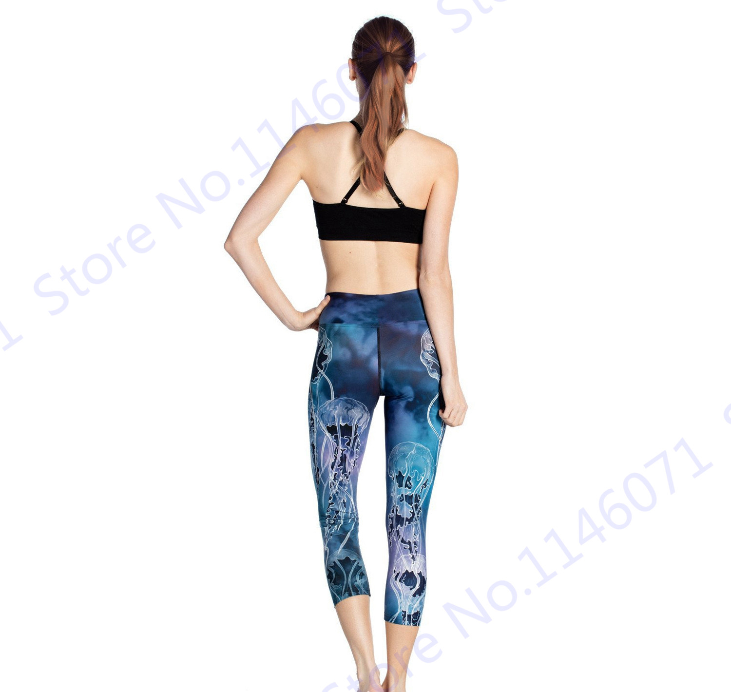 acd27ce5d2 Blue Sea Jellyfish Womens Yoga Capri Leggings Print Jellyfish Forest Sports  Running Tights Slim Skinny Fitness Gym Cropped Pants-in Running Tights from  ...