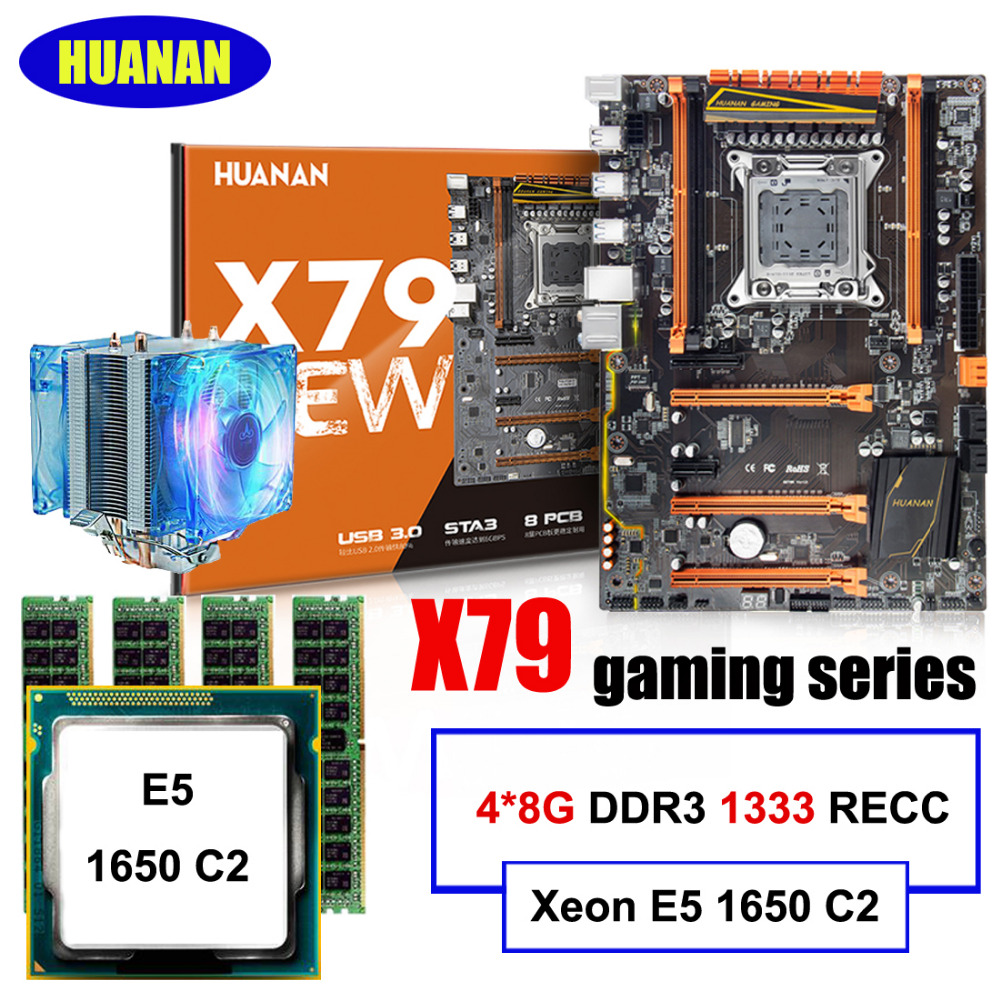HOT best seller HUANAN deluxe X79 LGA2011 motherboard CPU RAM combos Xeon E5 1650 C2 with cooler RAM 32G(4*8G) DDR3 1333MHz RECC
