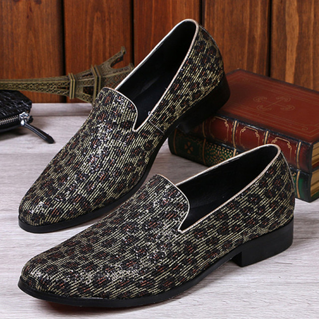 Print Slip-On Round Toe Men's Shoes