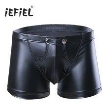e0985adf696b iEFiEL Sexy Lingerie Men Panties Faux Leather Boxer Shorts Open Bulge Pouch  With Hole Underwear Underpants Gay Man Jockstraps